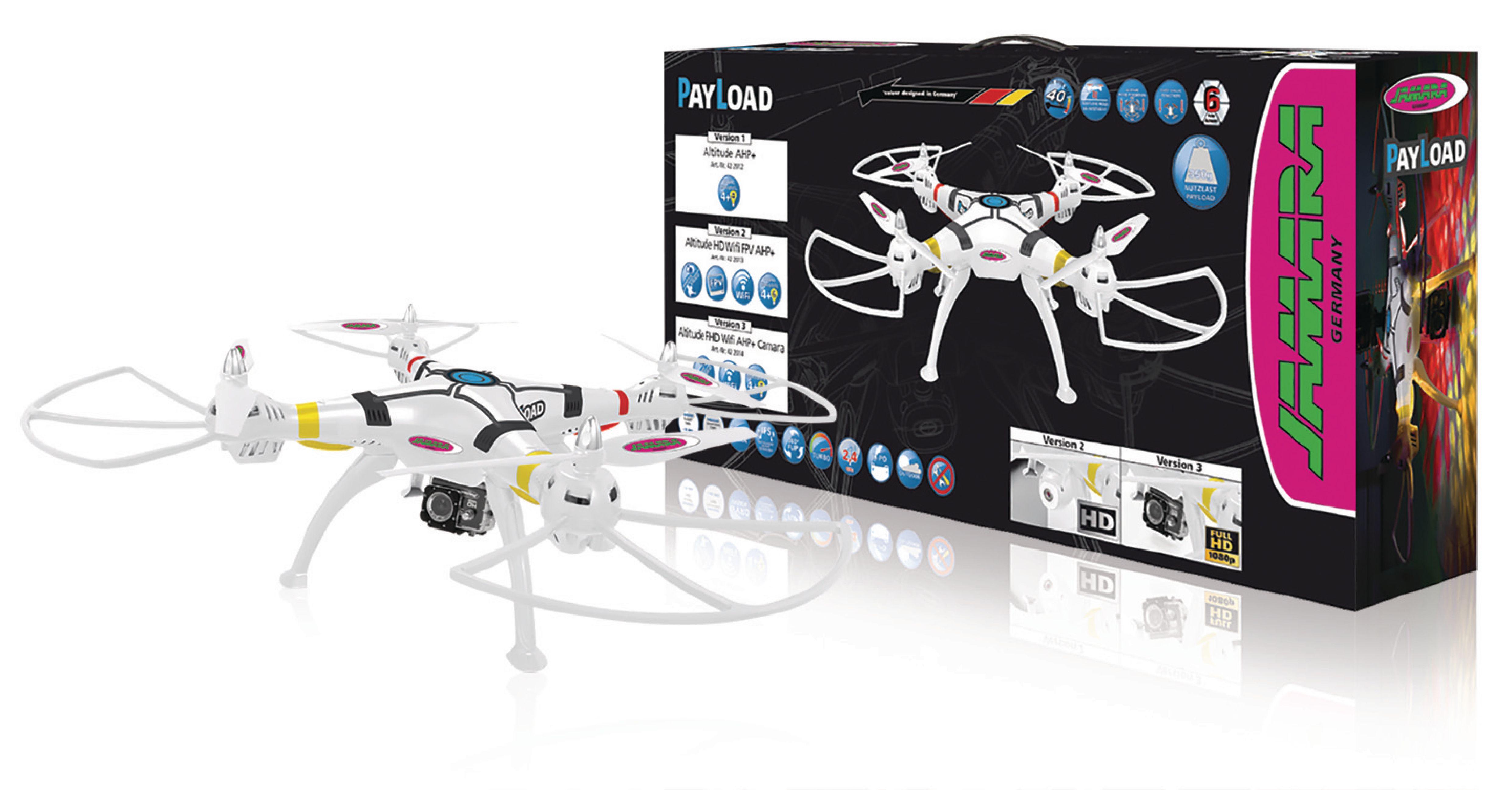 R/C Dron Payload Altitude 4+4 Kanál RTF / Foto / Video / Nahrávání zvuku / Gyro Uvnitř / Se Světly / Otáčení o 360 2,4GHz Ovladač Bílá
