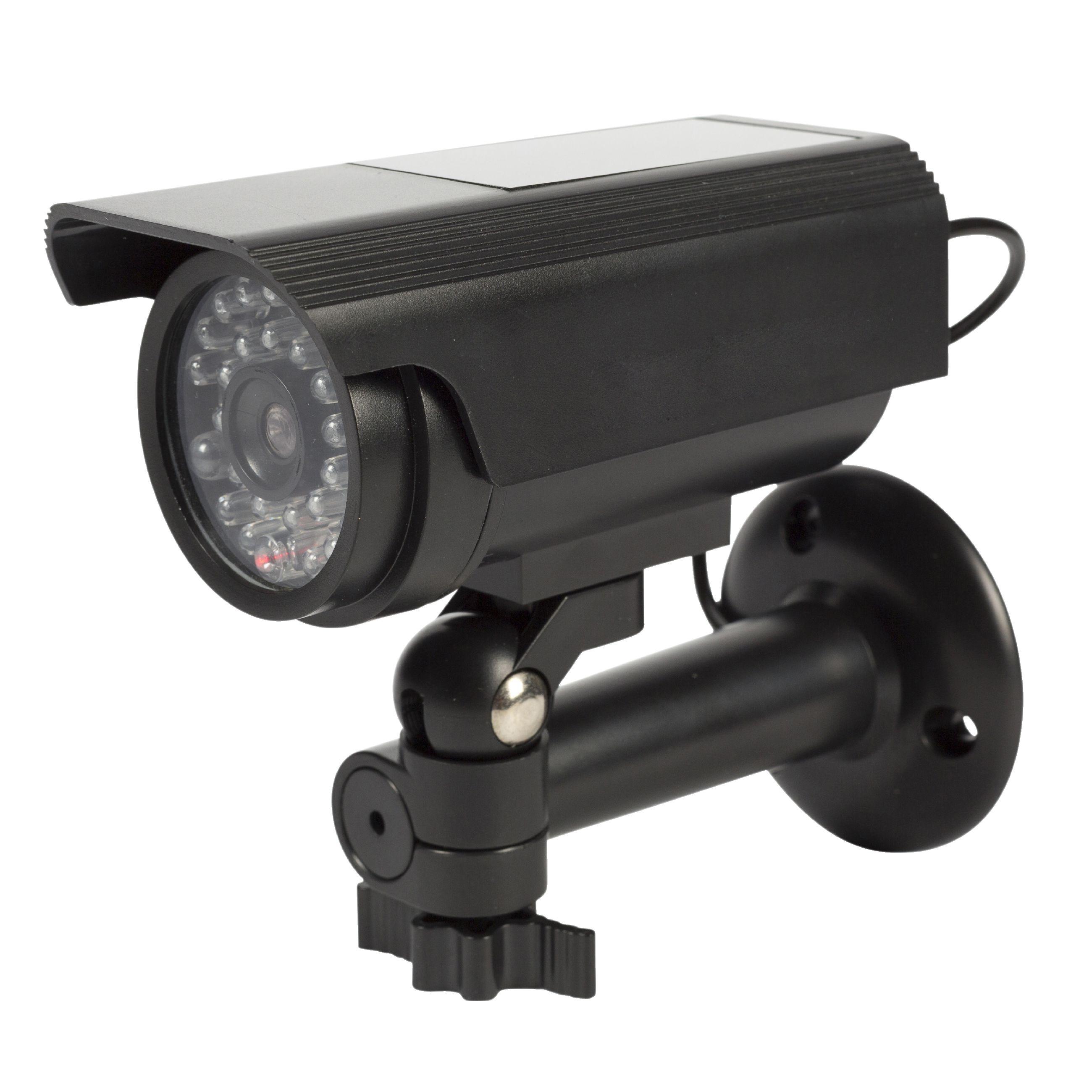 Atrapa venkovní bezpečnostní kamery se solárním napájením, černá König SAS-DUMMY111B
