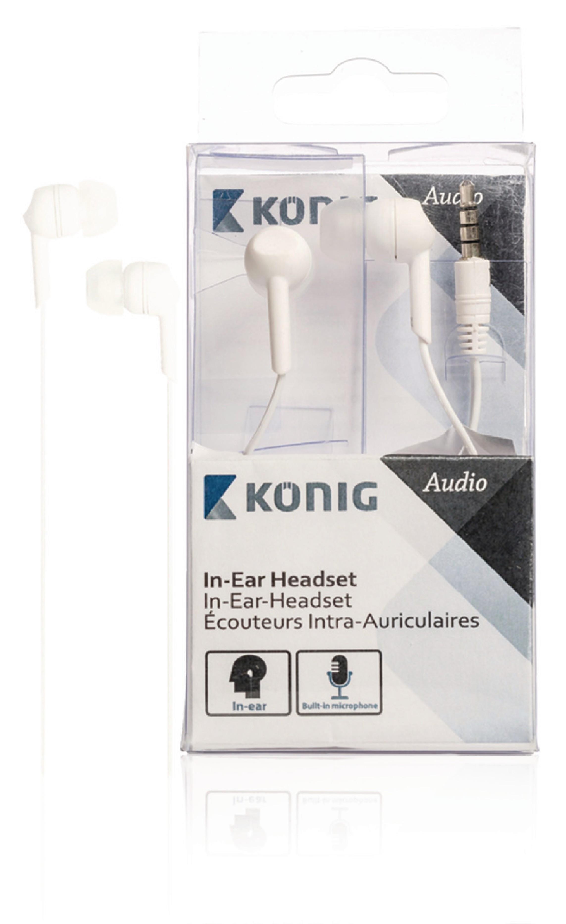 Sluchátka do uší s mikrofonem bílá, König CSHSIER300WH
