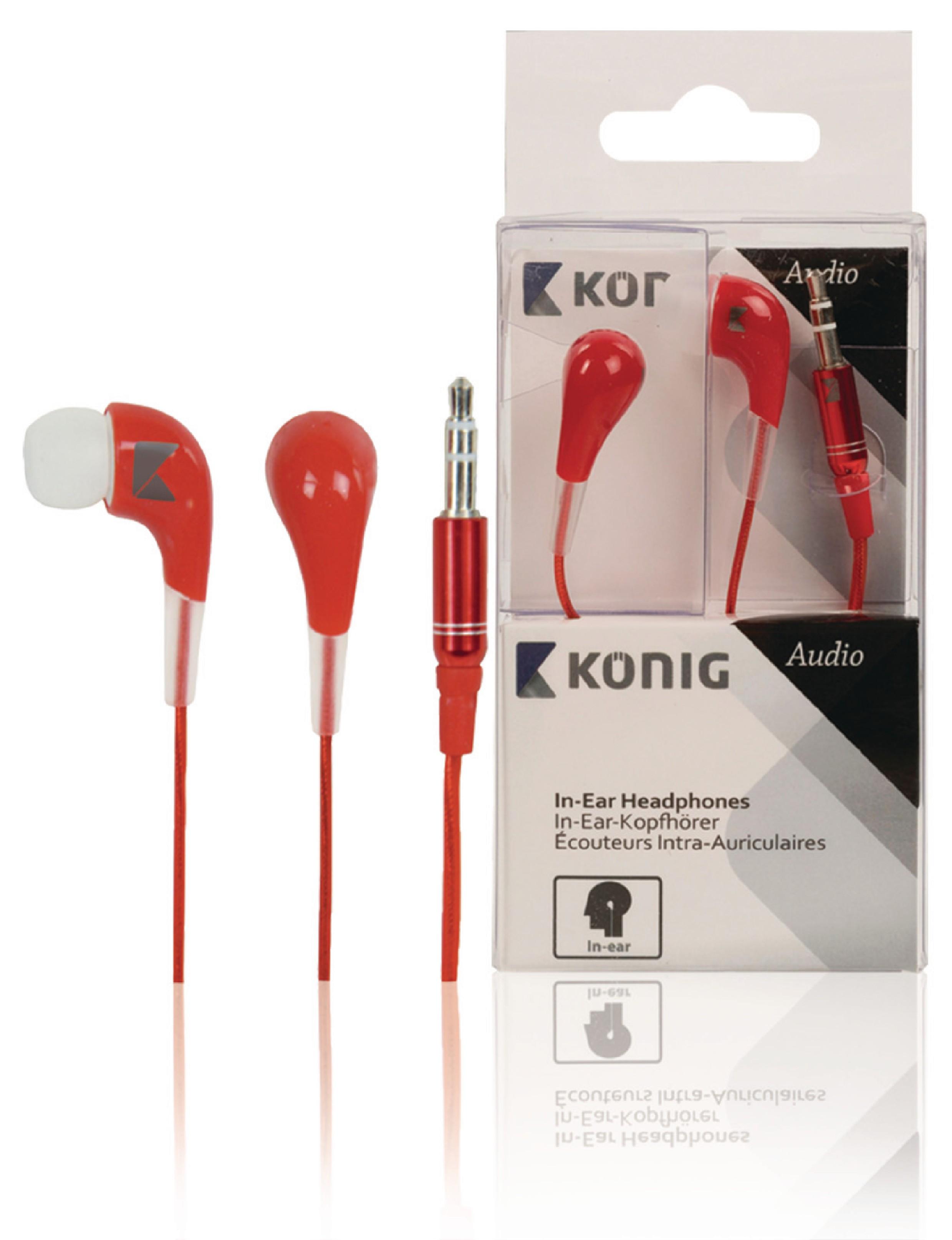 Sluchátka do uší König CSHPIER100, červená