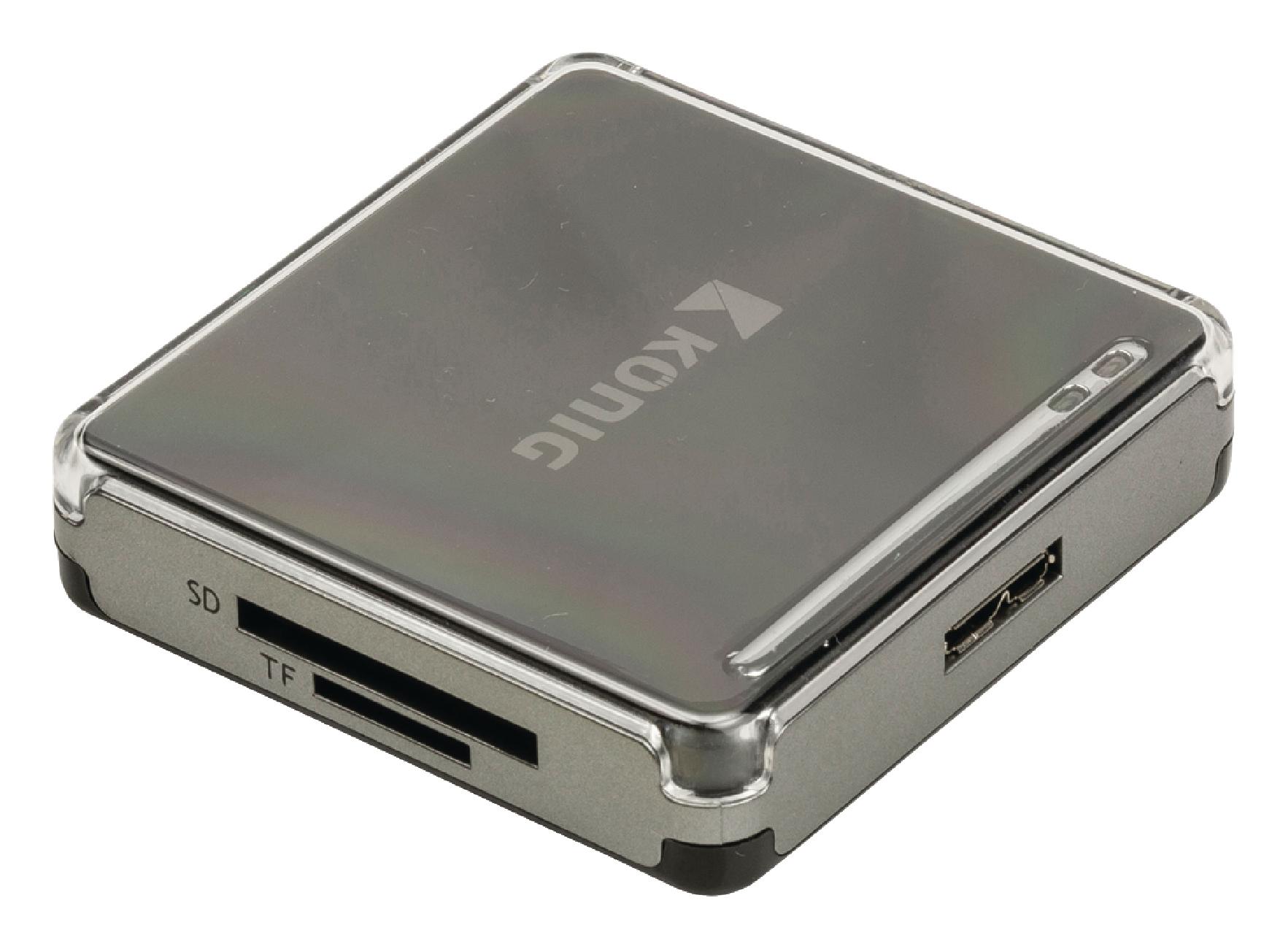 Čtečka paměťových karet multiformátová USB 3.0, König CSU3ACR100BL