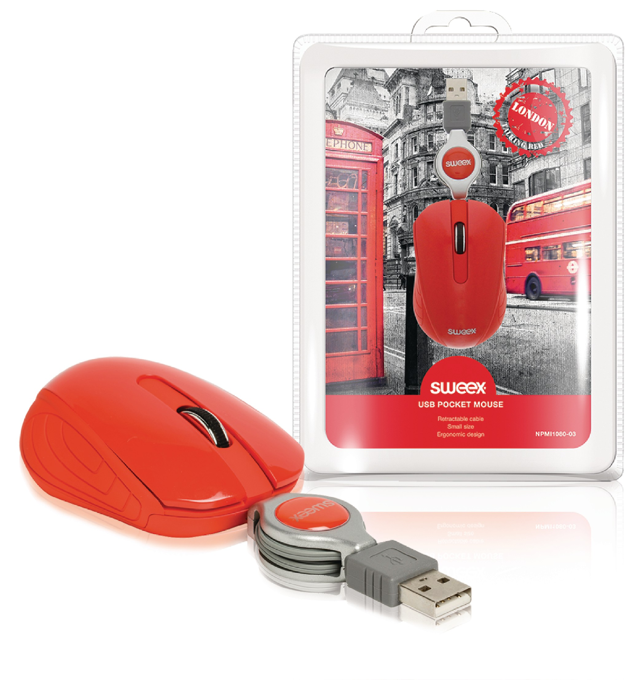 Sweex London kapesní USB myš, 1000 dpi, červená NPMI1080-03