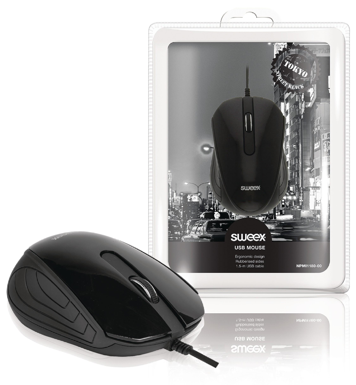 Drátová Myš Stolní 3 Tlačítka Černá
