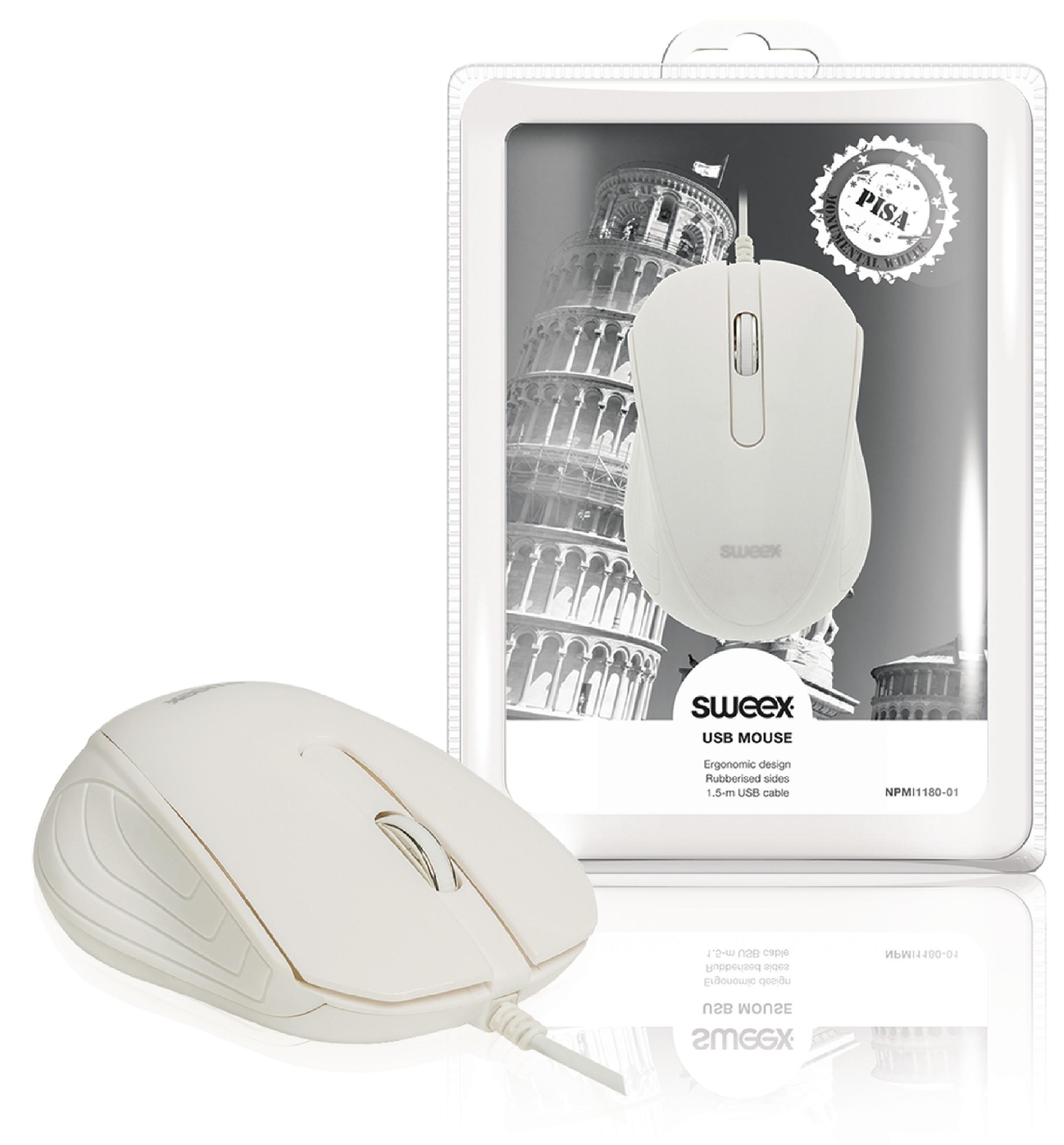 Drátová Myš Stolní 3 Tlačítka Bílá