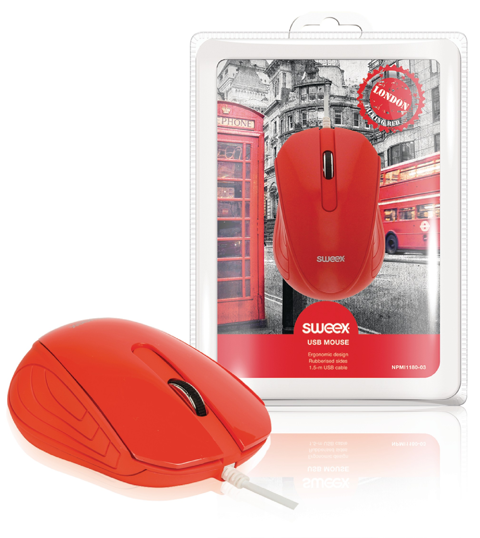 Drátová Myš Stolní 3 Tlačítka Červená