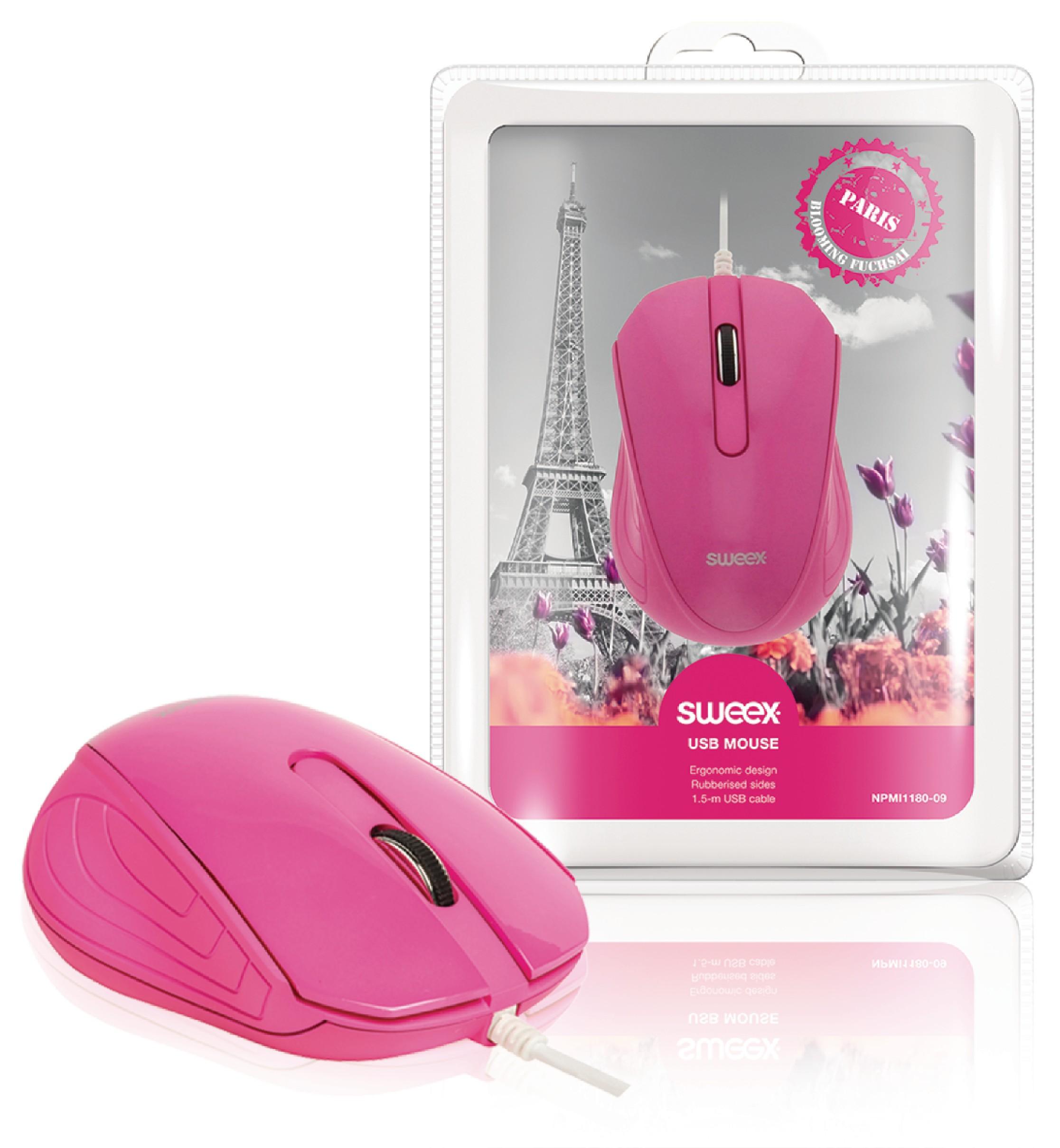 Drátová Myš Stolní 3 Tlačítka Růžová