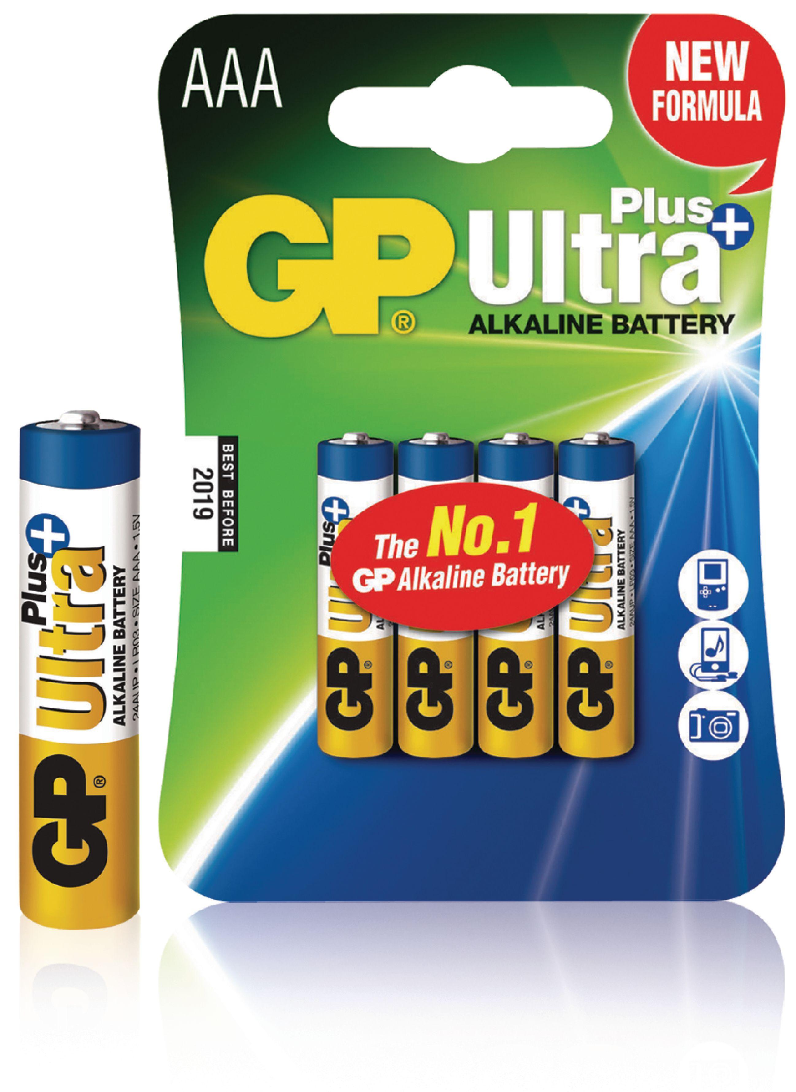 Alkalická baterie GP Ultra+ AAA 1.5 V, 4ks