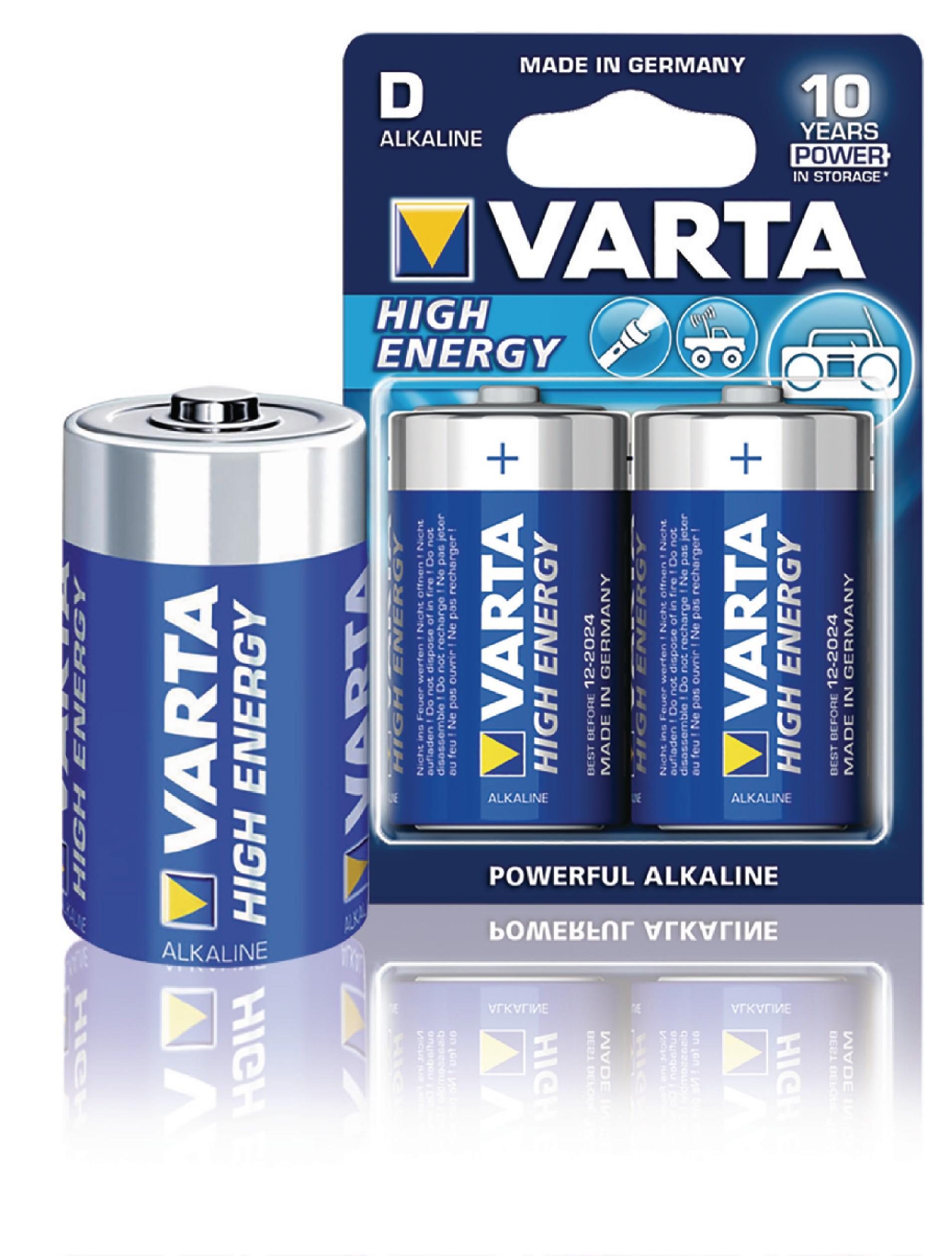 Alkalická baterie VARTA High Energy D/LR20 1.5V, 2ks, VARTA-4920/2B