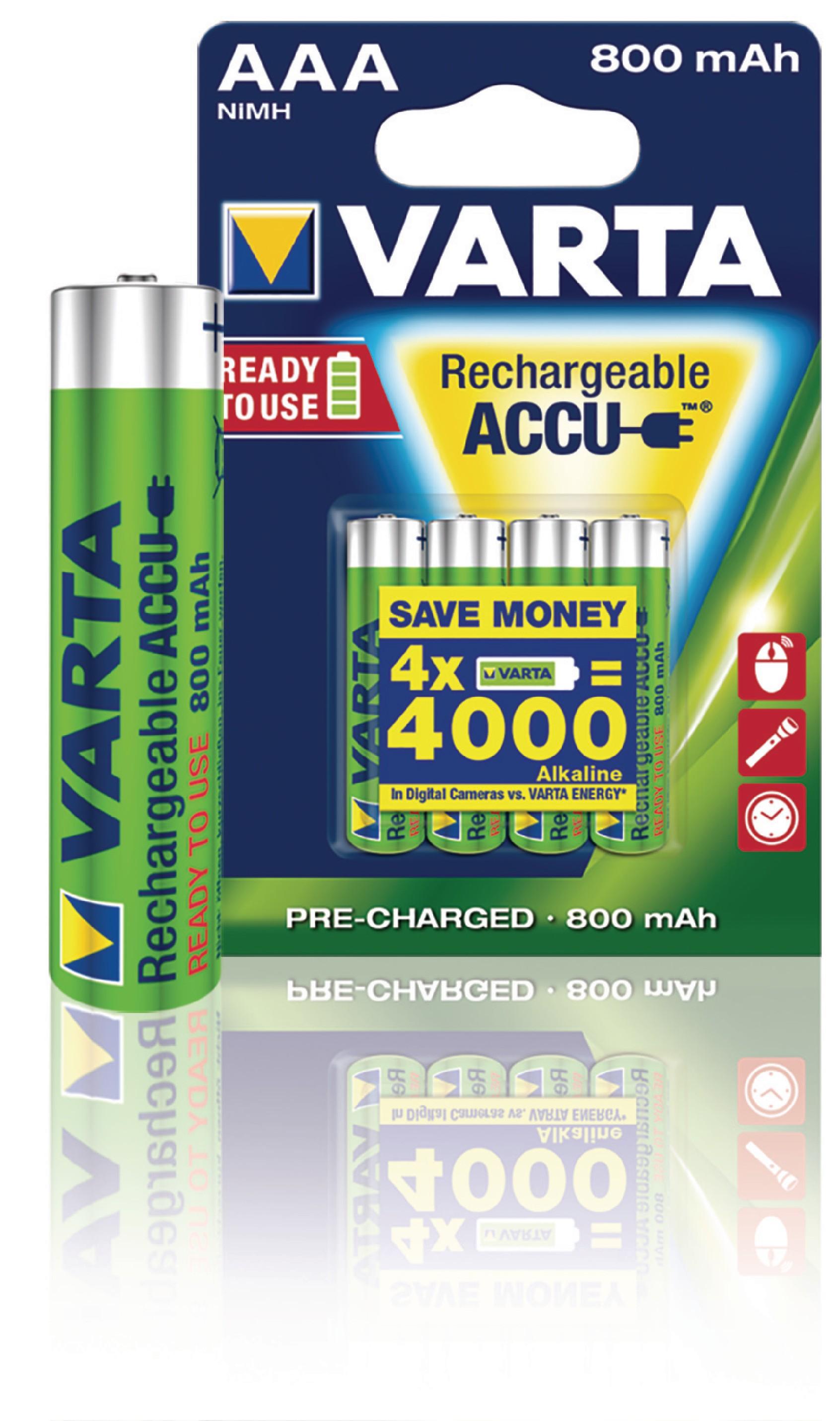 Nabíjecí baterie Varta NiMH AAA 1.2V 800mAh - 4ks, VARTA-56703B