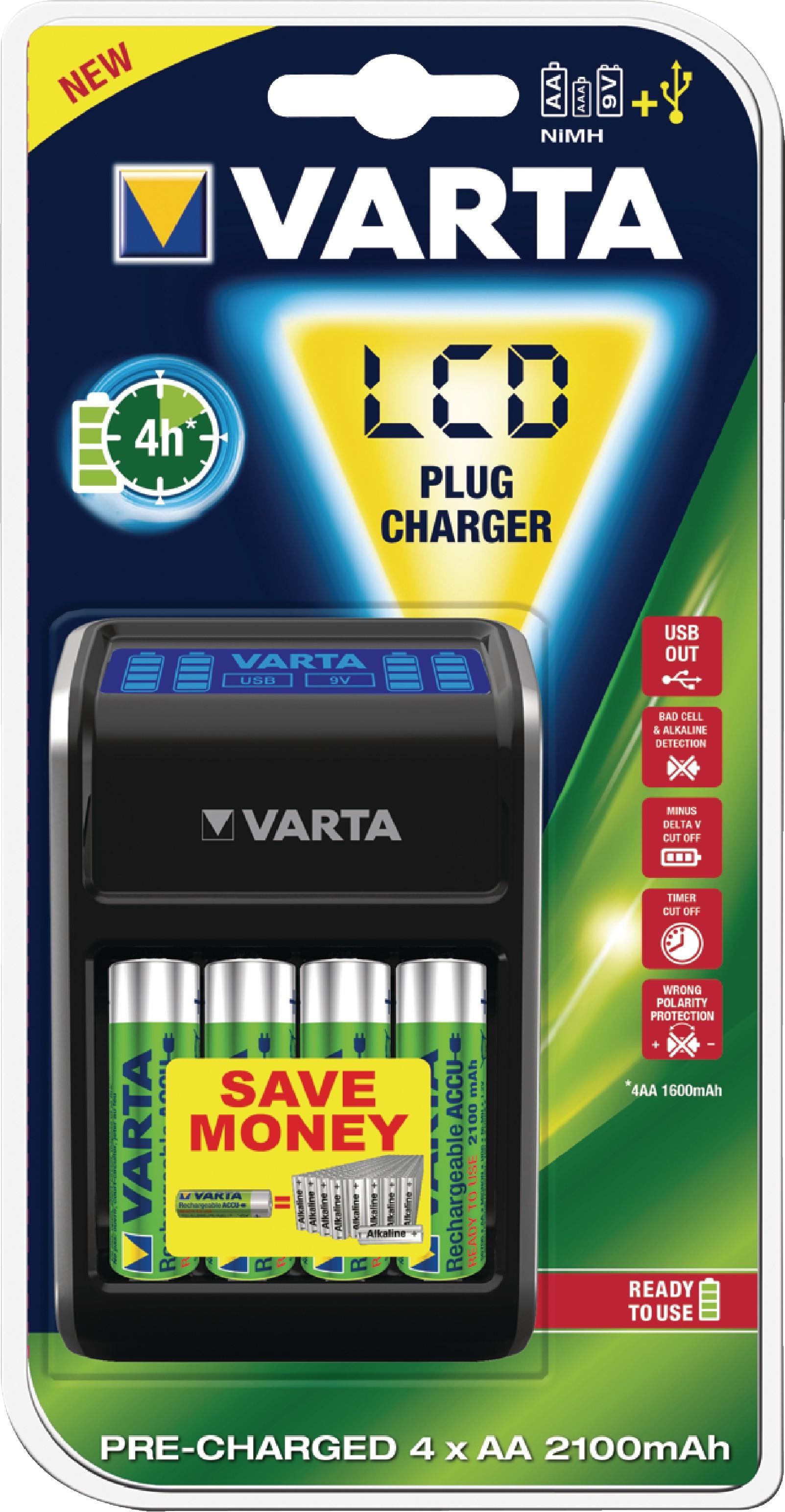 Nabíječka NiMH baterií + 4x AA/HR6 2100 mAh VARTA Power LCD Plug Charger