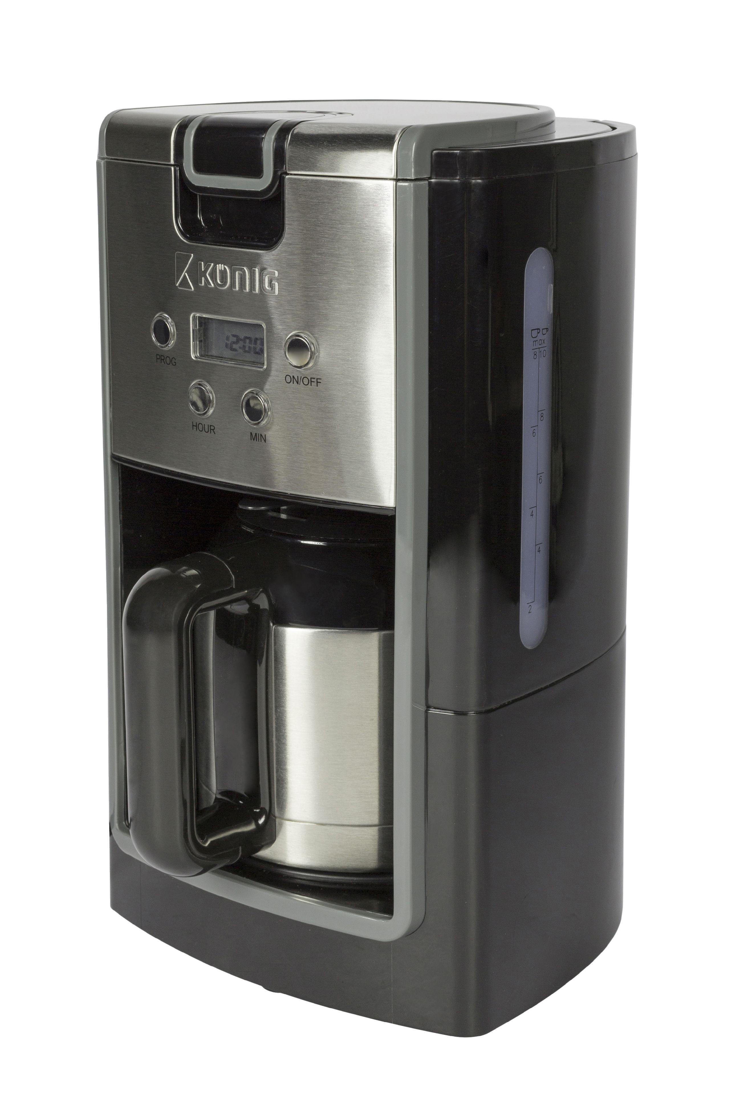Kávovar 800 W s termokonvicí pro 10 šálků, König KN-COF10S