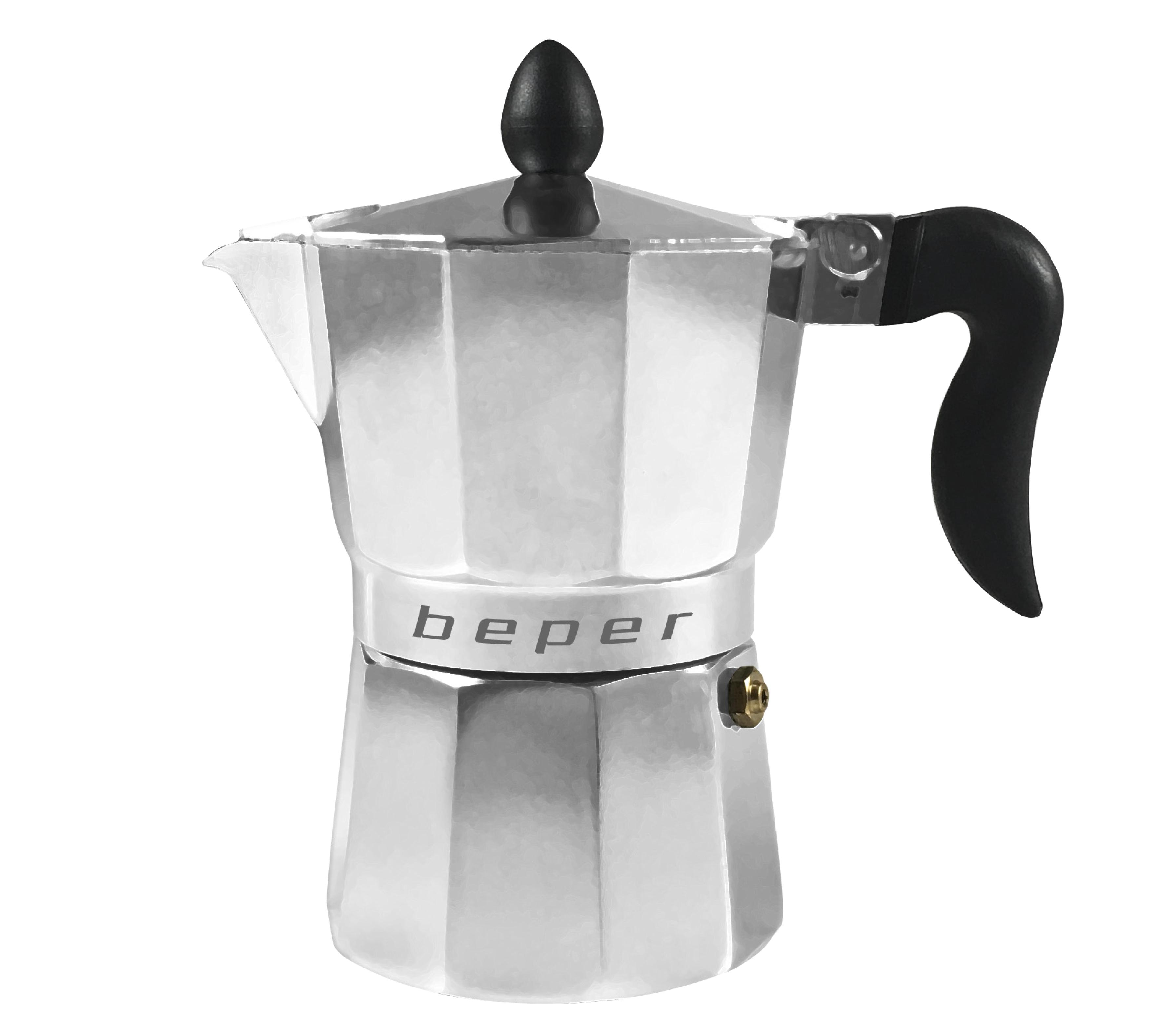 BEPER CA012 kávovar moka pro přípravu tradiční itálské kávy, 6 šálků, kvalitní hliník
