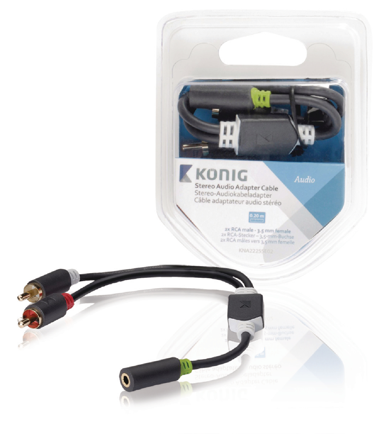 König König propojovací audio kabel zásuvka 3.5mm - 2x cinch zástrčka 0.2 m KNA22255E02