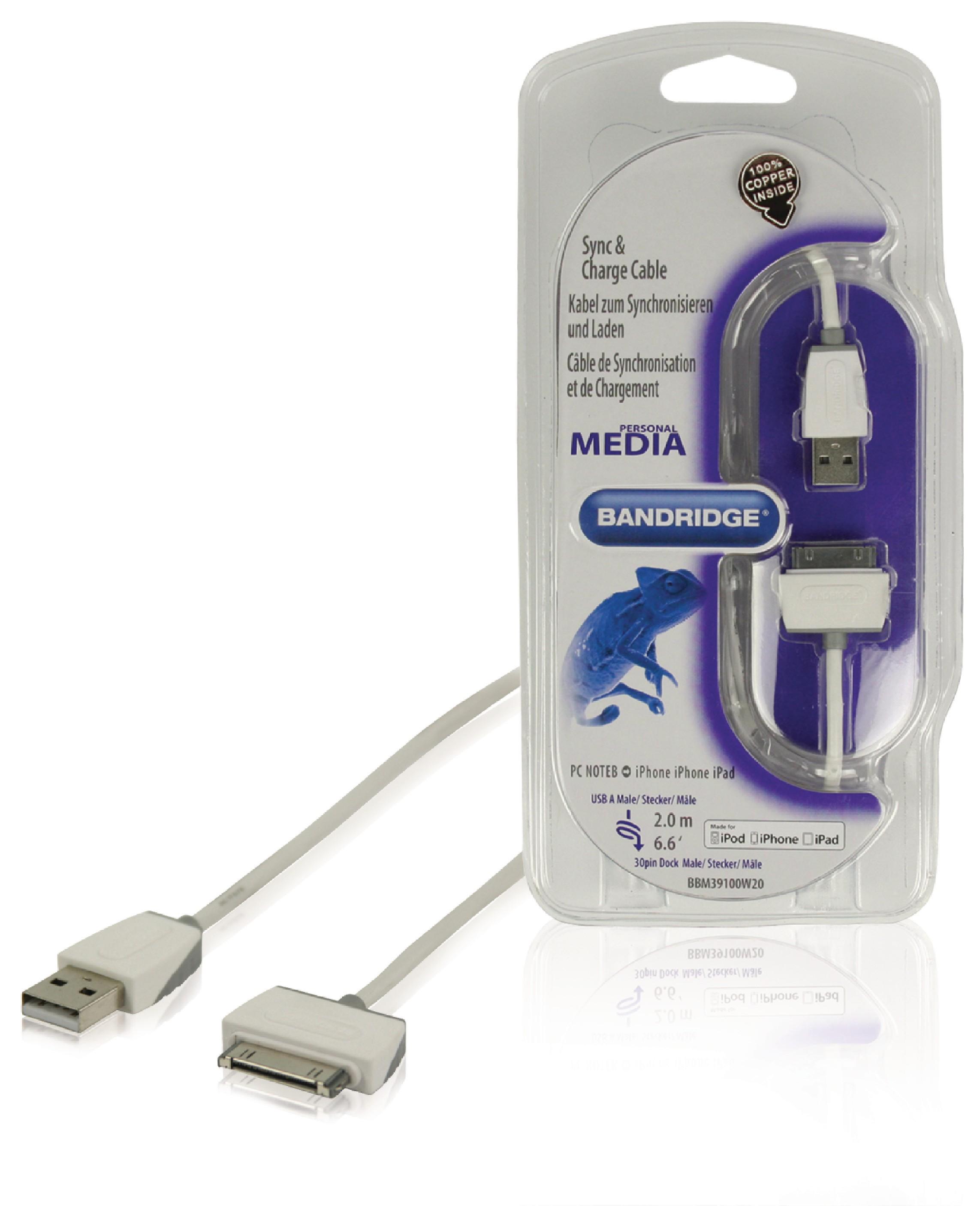 Bandridge High Performance data kabel zástrčka Apple 30-pin - zástrčka USB A, 2 m BBM39100W20