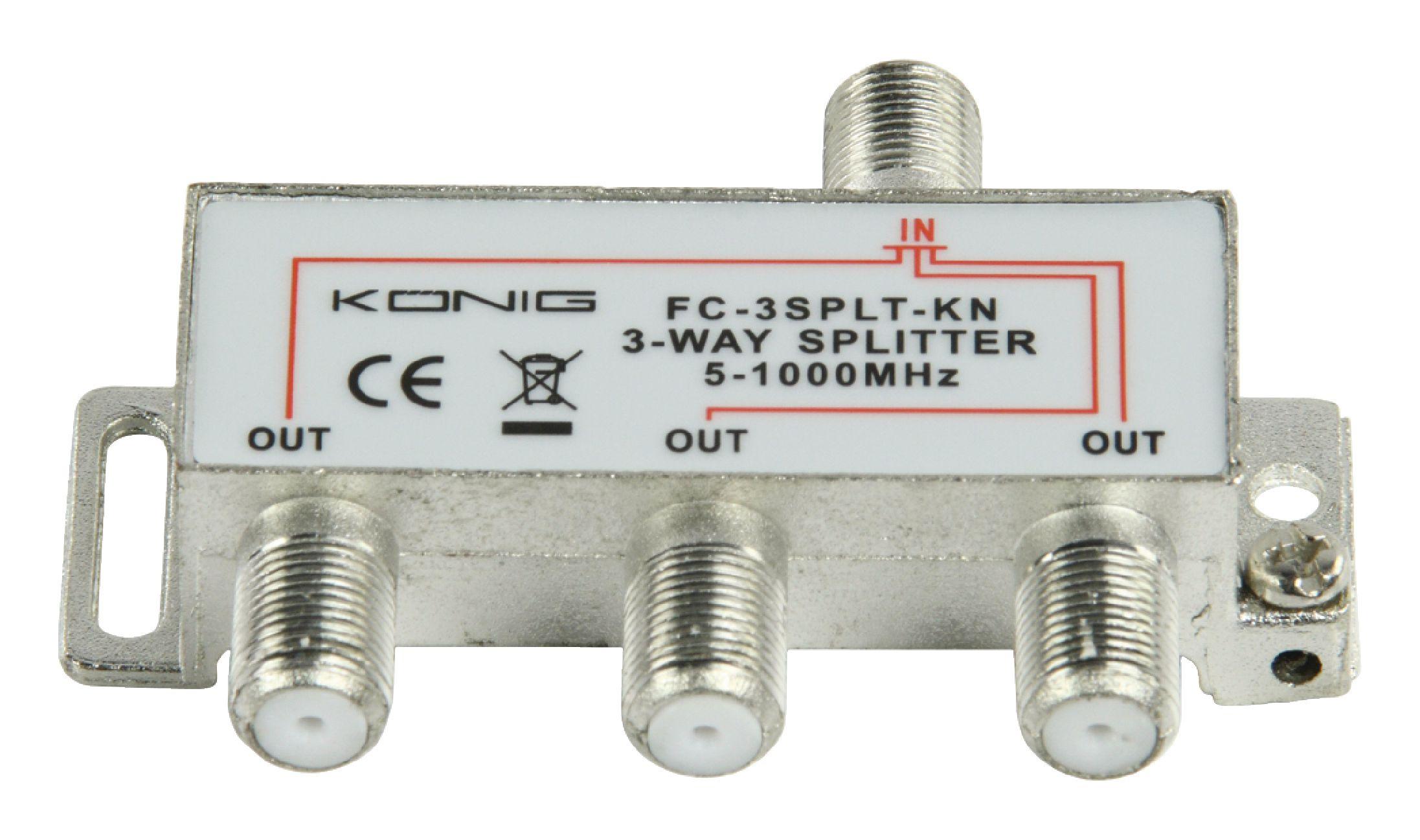 König FC-3SPLT-KN pasivní anténní rozbočovač 5-1000 MHz 6.8 dB - 3x výstup