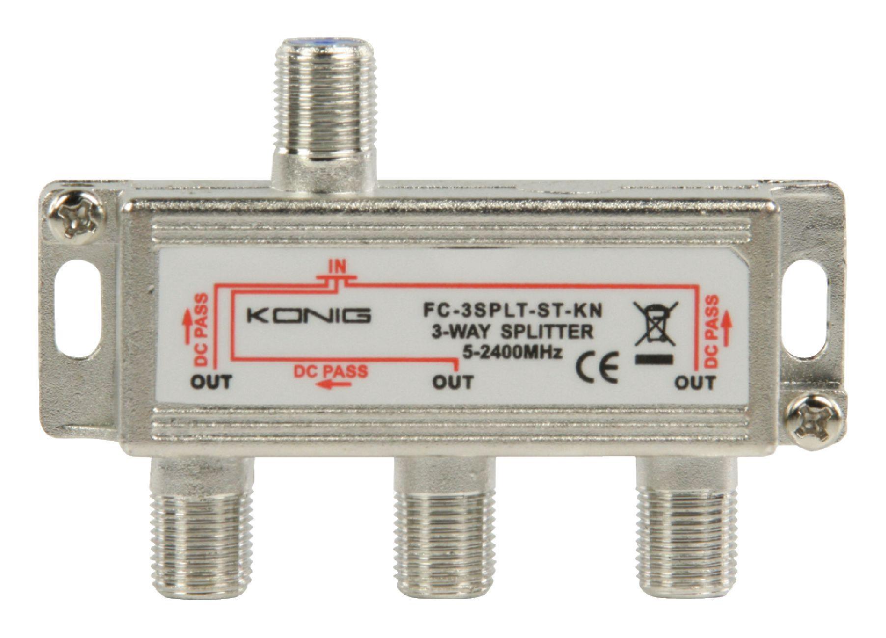 König FC-3SPLT-ST-KN pasivní anténní rozbočovač 5-2400 MHz 10.5 dB - 3x výstup
