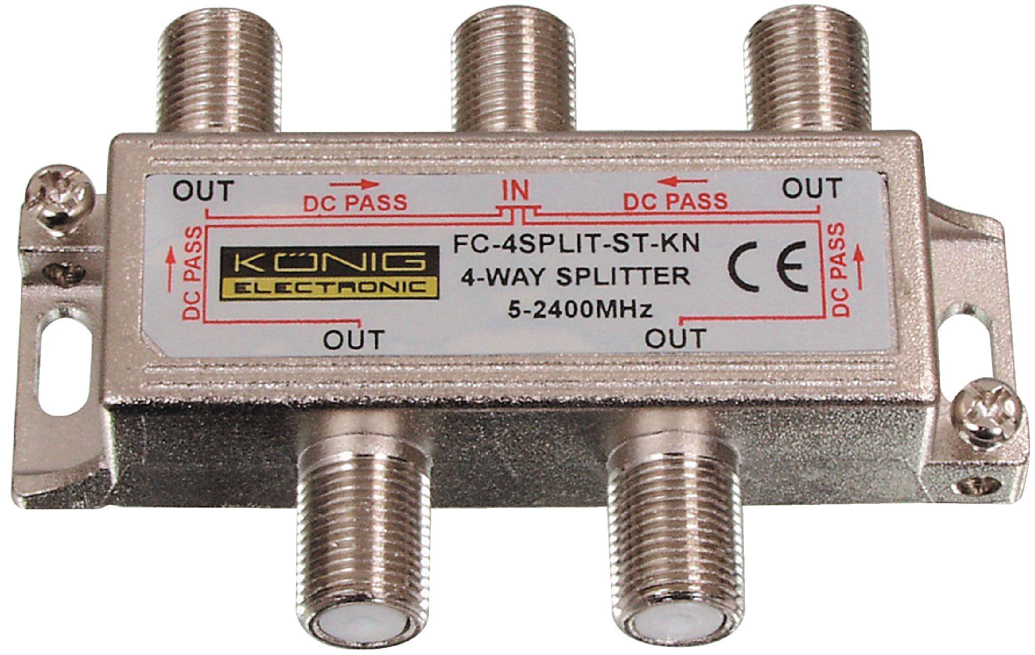 König FC-4SPLT-ST-KN pasivní anténní rozbočovač 5-2400 MHz 11.5 dB - 4x výstup