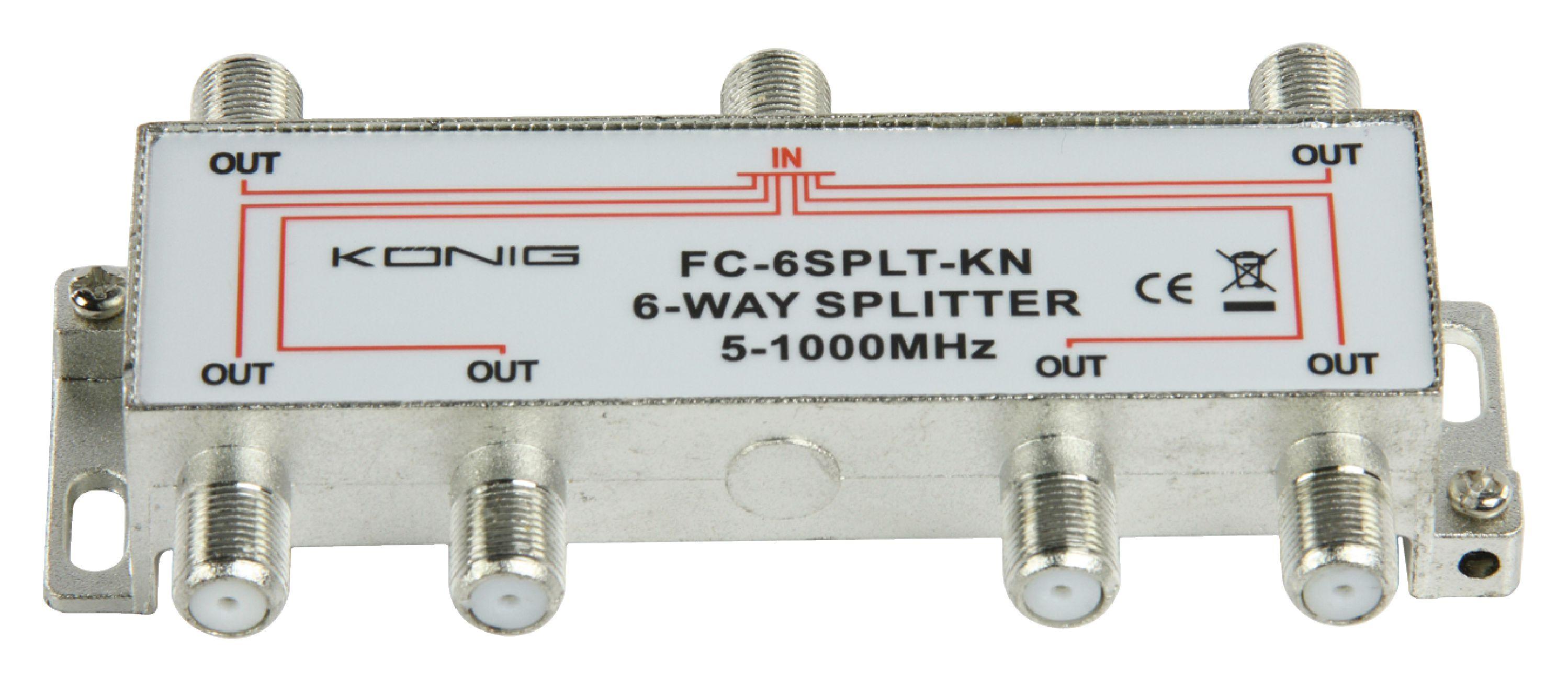 König FC-6SPLT-KN pasivní anténní rozbočovač 5-1000 MHz 10 dB - 6x výstup