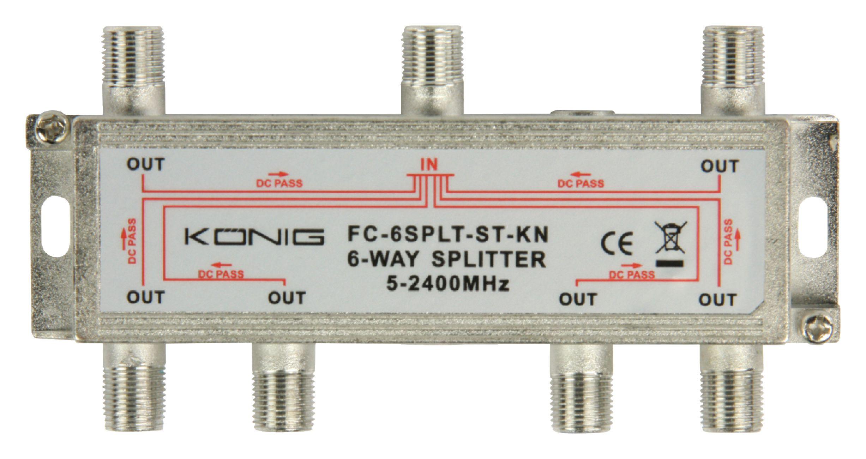 König FC-6SPLT-ST-KN pasivní anténní rozbočovač 5-2400 MHz 17 dB - 6x výstup