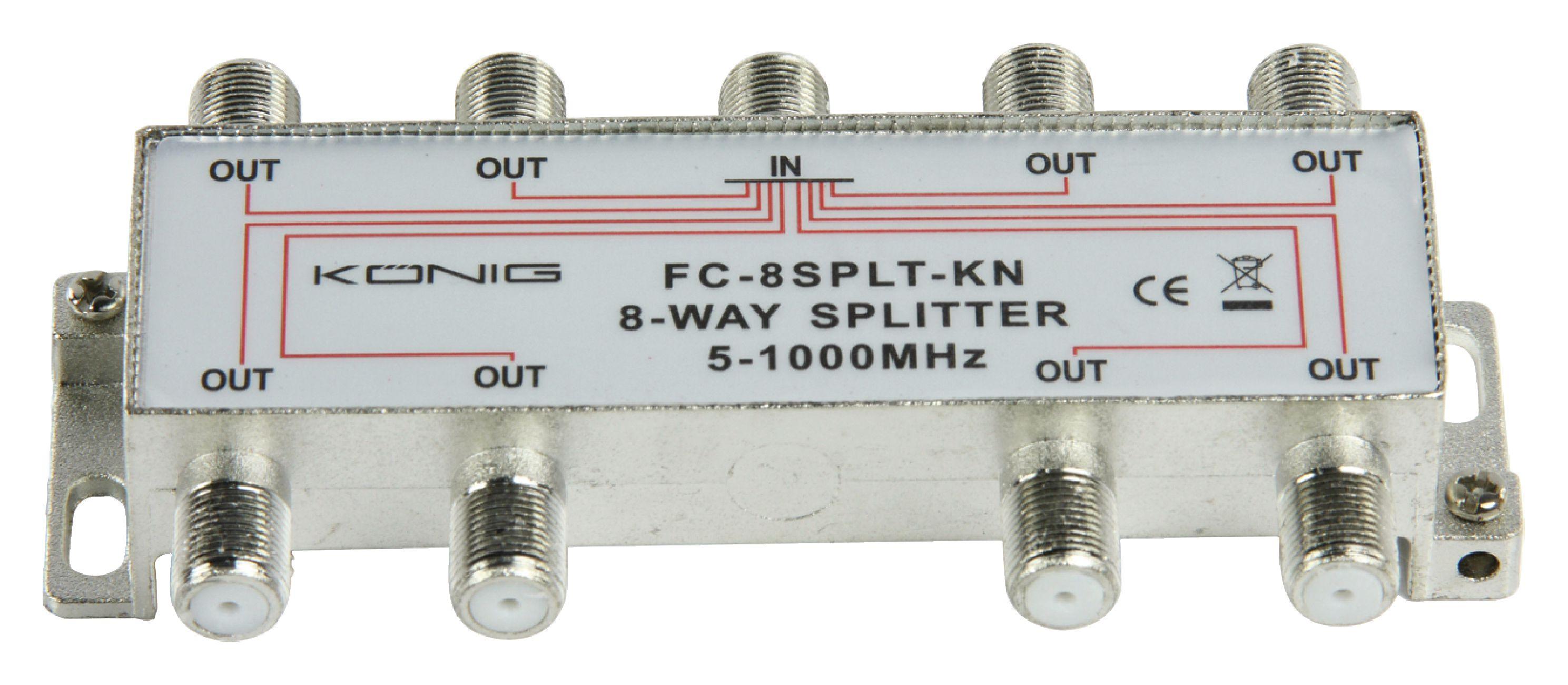 König FC-8SPLT-KN pasivní anténní rozbočovač 5-1000 MHz 11 dB - 8x výstup