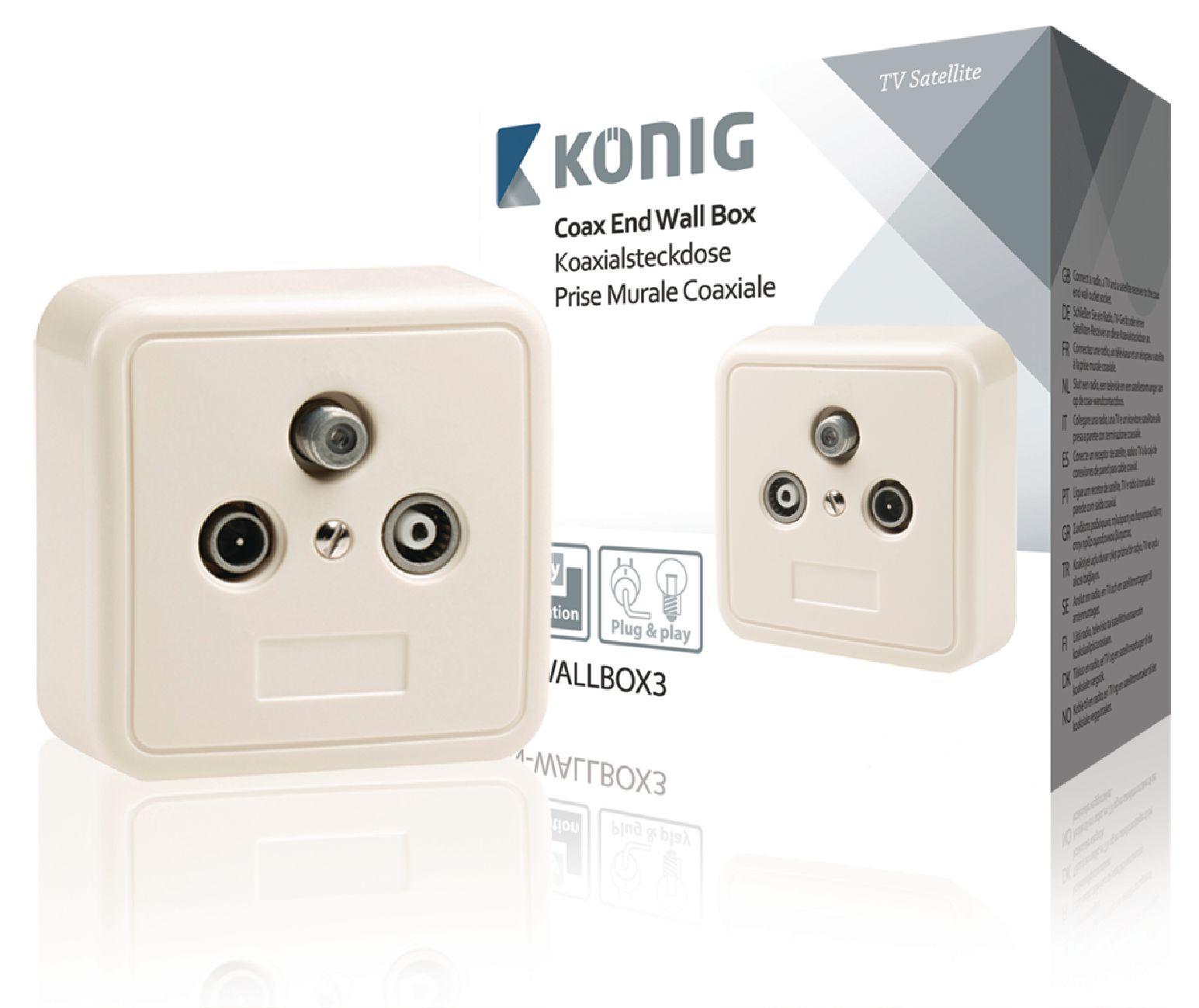 Satelitní účastnická zásuvka koncová SAT/TV/R 2.5 dB König KN-WALLBOX3