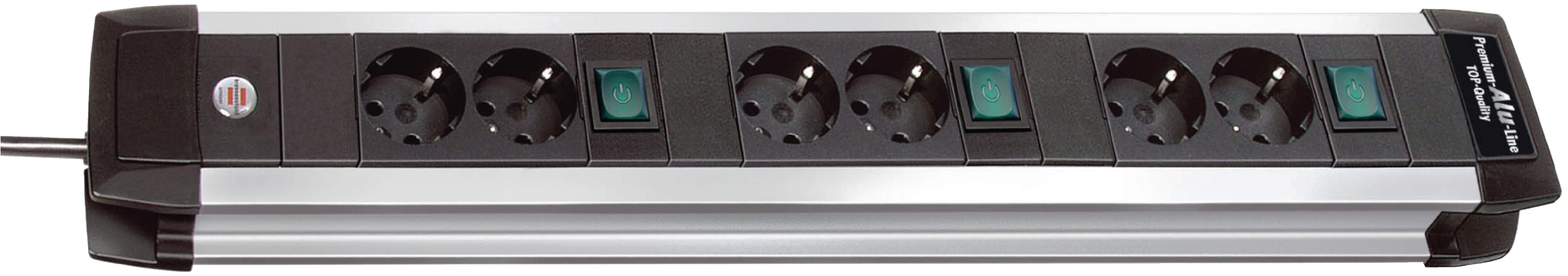 6-násobná prodlužovací lišta se 3 vypínači, 3 m Premium-Alu-Line Brennenstuhl BN-1391000078