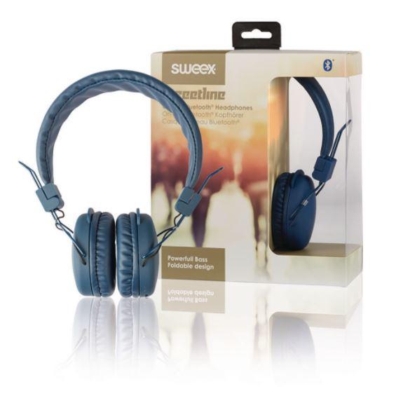 Sweex Streetline bluetooth bezdrátová sluchátka modrá, SWHPBT100L