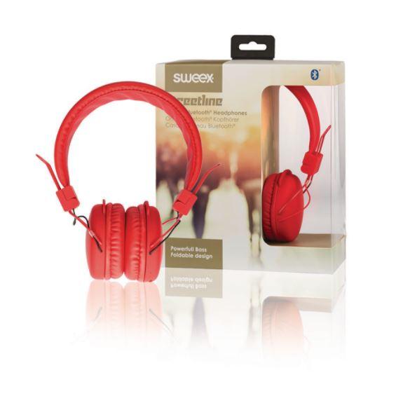 Sweex Streetline bluetooth bezdrátová sluchátka červená, SWHPBT100R