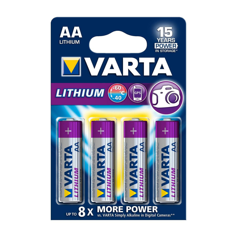Lithiová baterie Varta Lithium AA 1.5V, 4ks, VARTA-6106/4B