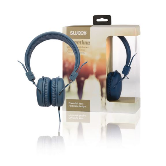 Sweex Streetline uzavřená sluchátka s kabelem 1.2m modrá, SWHP100L