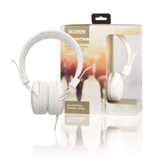 Sweex Streetline uzavřená sluchátka s kabelem 1.2m bílá, SWHP100W