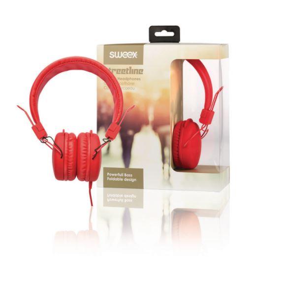 Sweex Streetline uzavřená sluchátka s kabelem 1.2m červená, SWHP100R