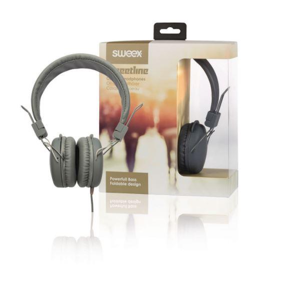 Sweex Streetline uzavřená sluchátka s kabelem 1.2m šedá, SWHP100G