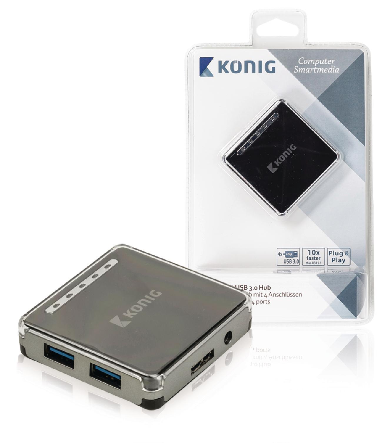 4 Porty Rozbočovač USB 3.0 Černá