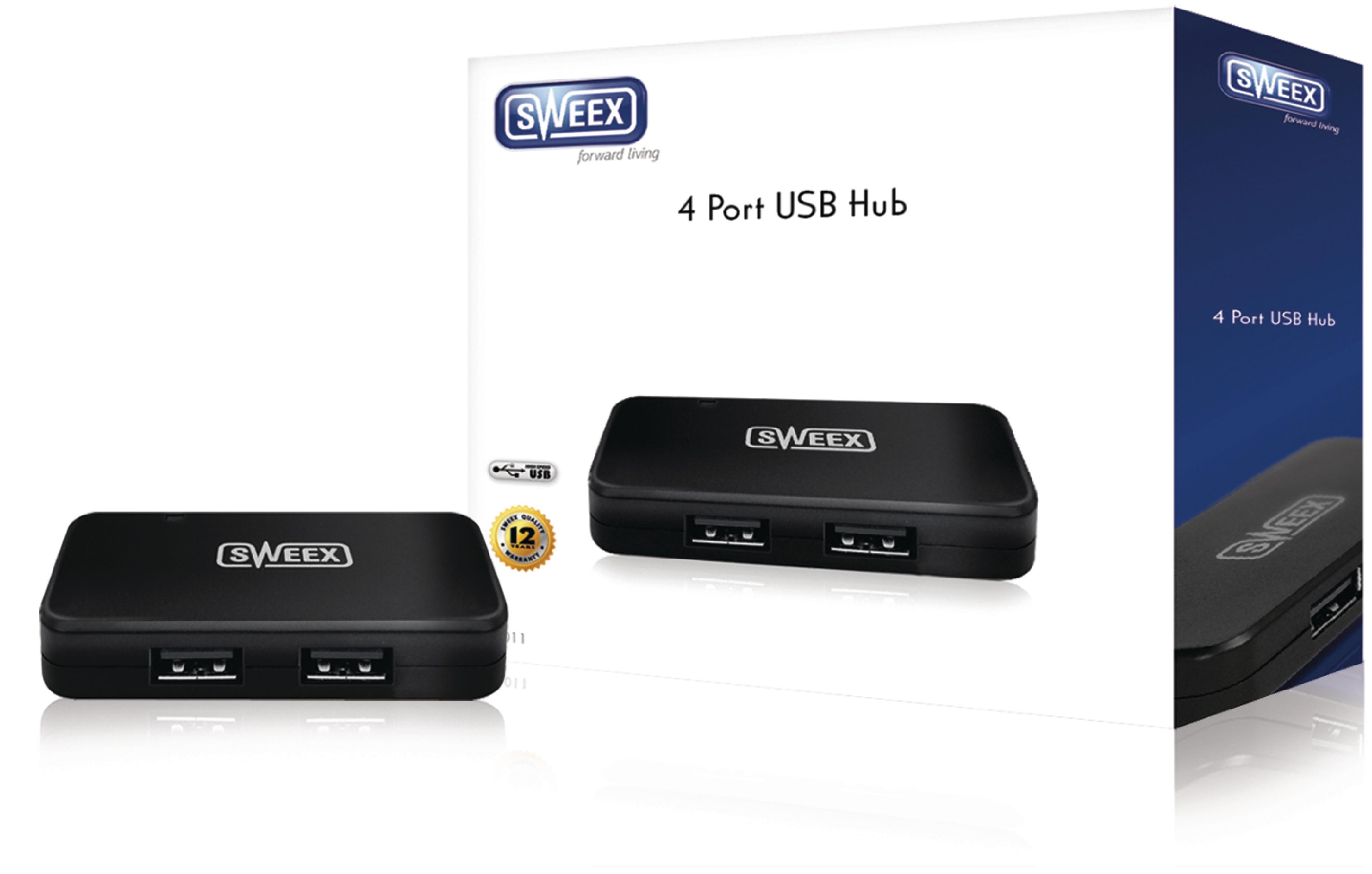 4 Porty Rozbočovač USB 2.0 Černá