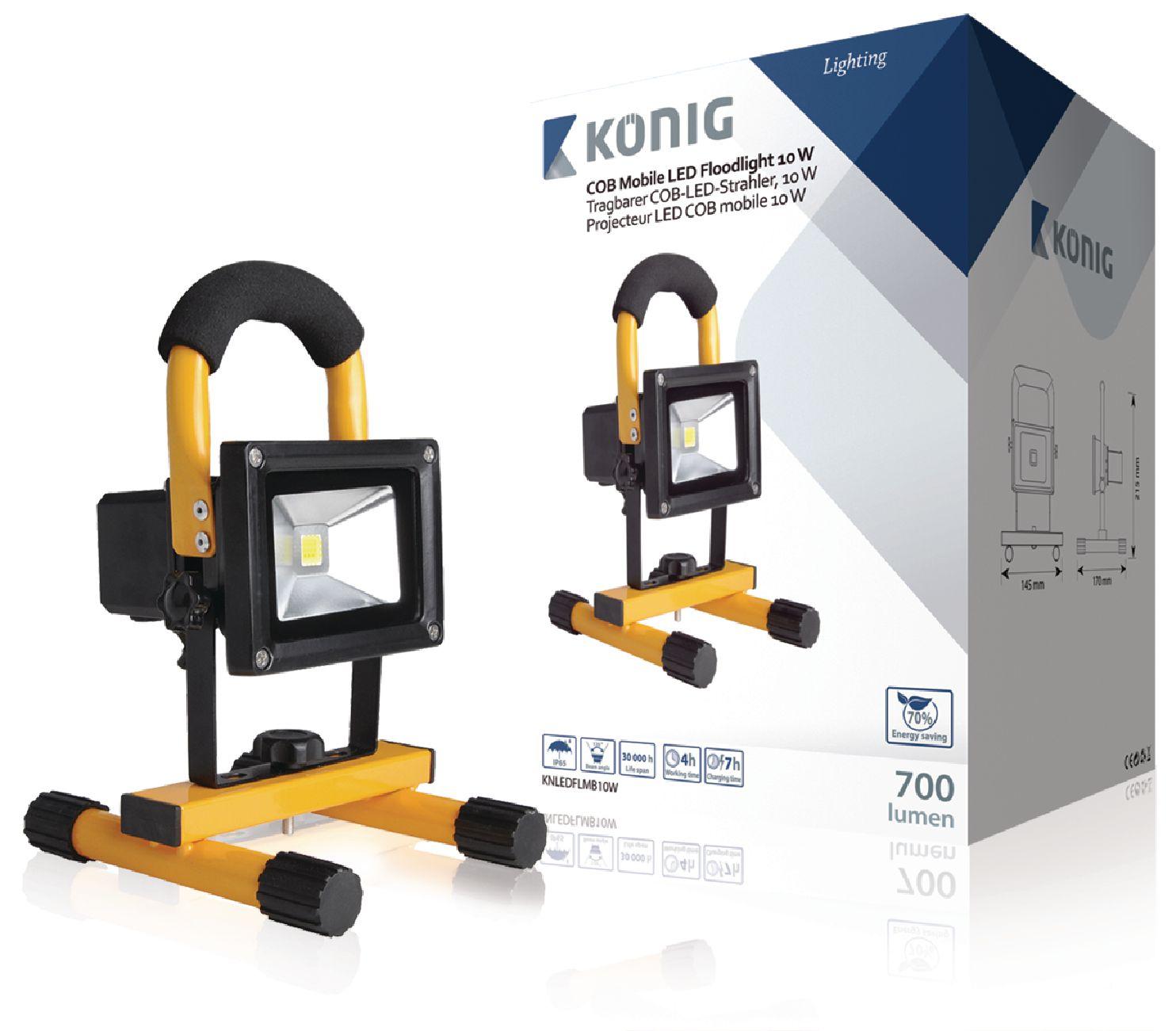 Mobilní LED Reflektor 10 W 700 lm Černá / Žlutá
