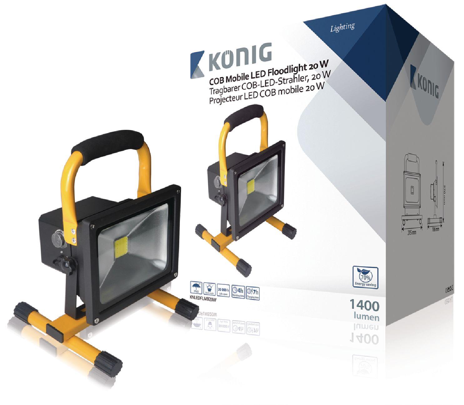 Mobilní LED Reflektor 20 W 1400 lm Černá / Žlutá
