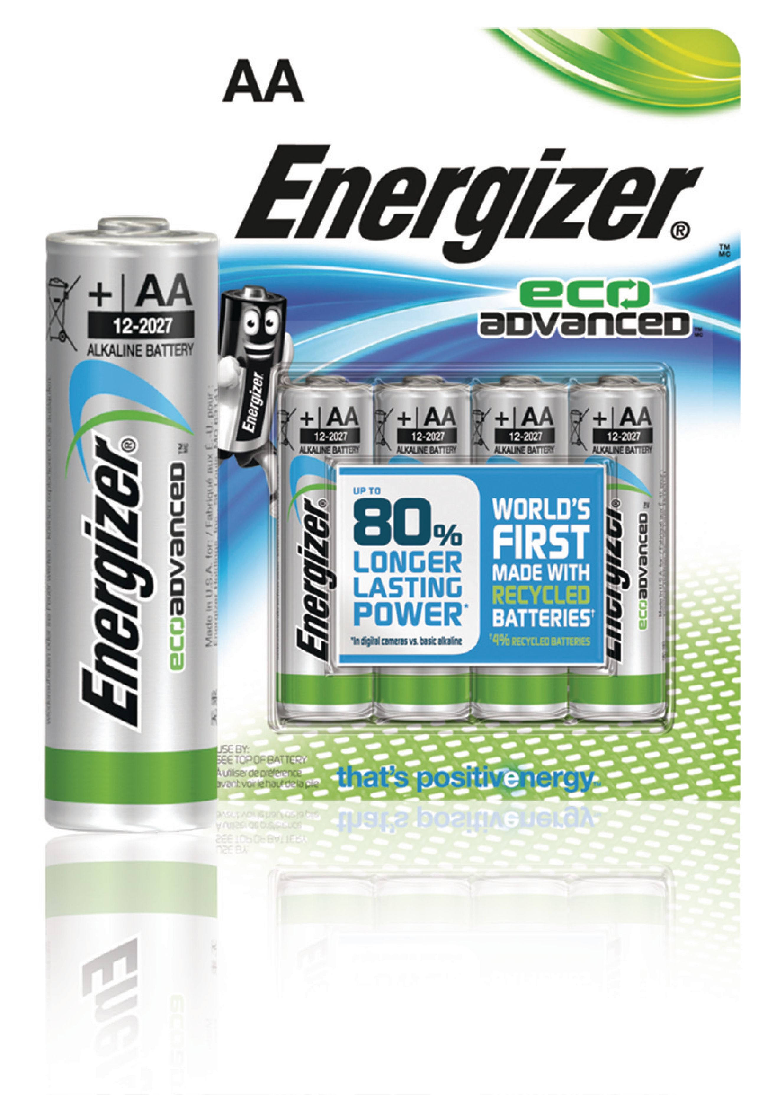 Alkalická baterie Energizer Eco Advanced AA 1.5V, 4ks, 53541071600
