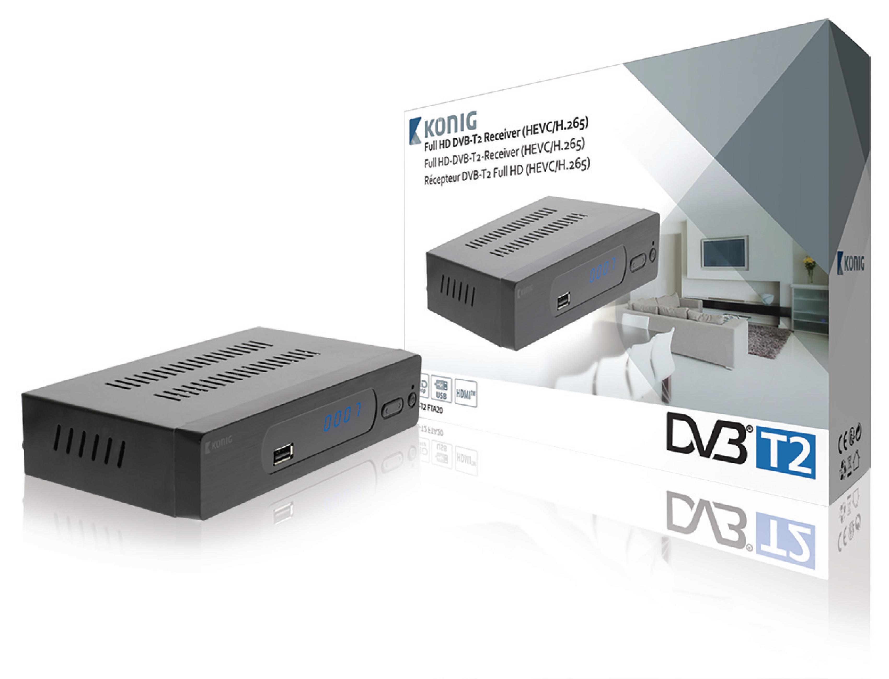 Full HD DVB-T2 přijímač HEVC H.265 Free To Air (FTA) König, DVB-T2 FTA20