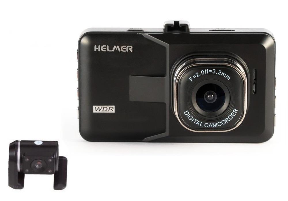 "HELMER duální HD kamera do auta 2017/ 1280x720/ 3"" TFT LCD/ Mini USB/ micro SD slot/ AV výstup/ P"