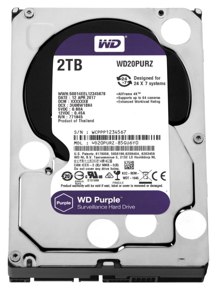 """WD HDD PURPLE 2TB / WD20PURZ / SATA 6Gb/s / Interní 3,5"""" / 5400rpm /64MB"""