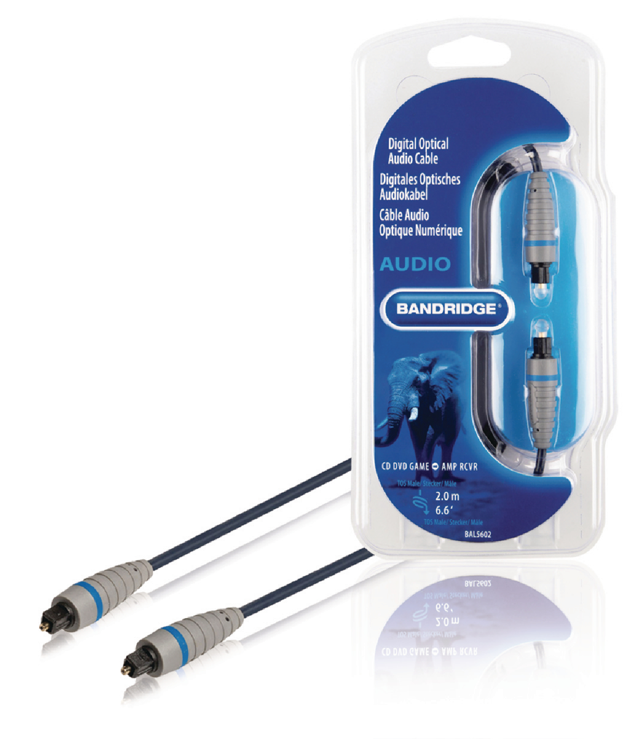 Bandridge digitální optický audio kabel Toslink zástrčka - Toslink zástrčka 2 m BAL5602