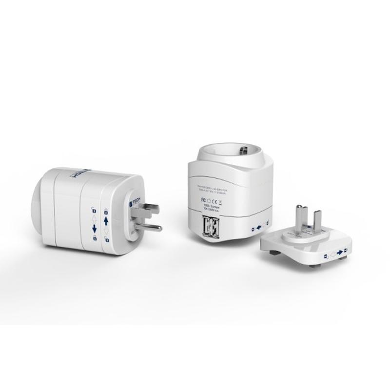 TECH cestovní adaptér pro použití v USA s integrovanou 2xUSB nabíječkou TBU-945