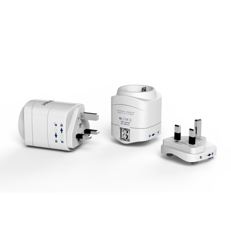 TECH cestovní adaptér pro použití v UK s integrovanou 2xUSB nabíječkou TBU-948