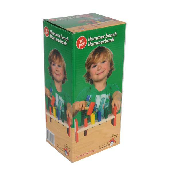 Dřevěný herní set kladívko s poličkou a kolíčky (10 ks)