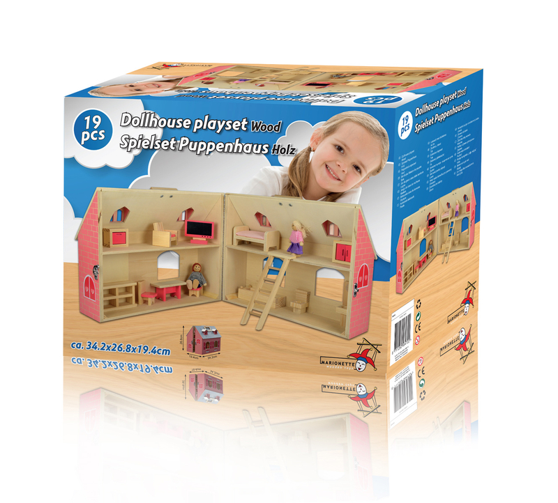 Dřevěný domeček pro panenky (sada 19 ks)