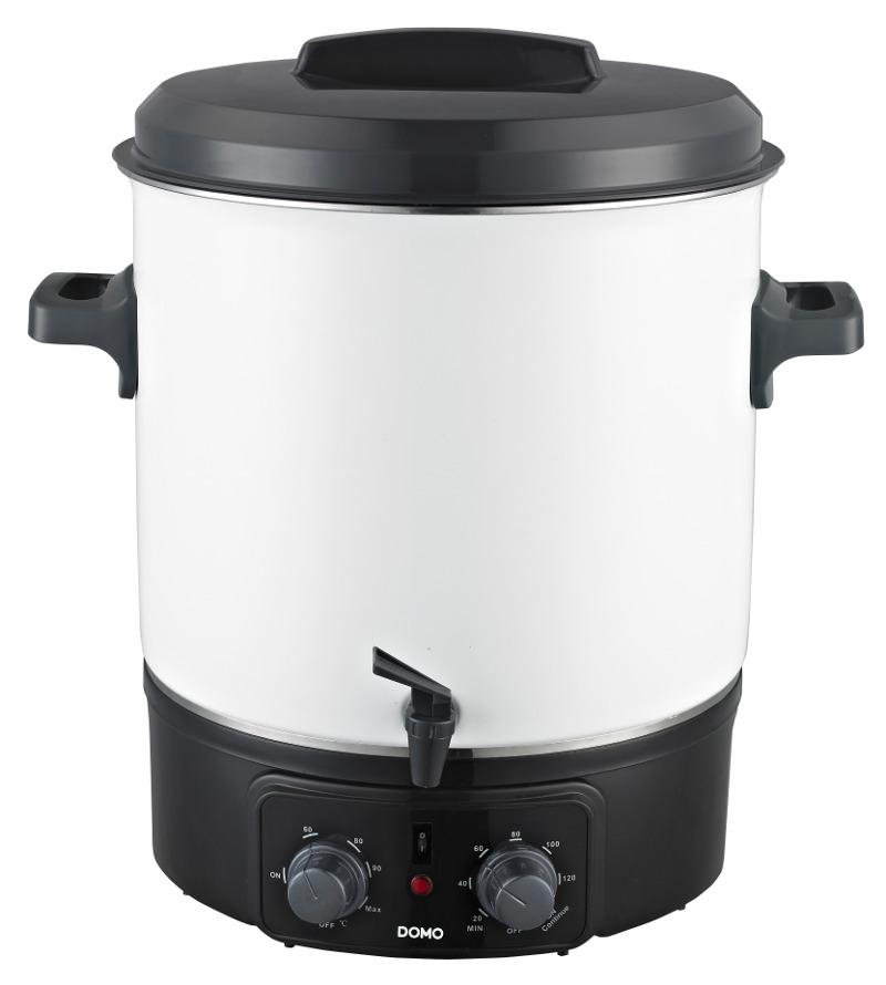 Zavařovací hrnec elektrický - smalt - DOMO DO322W, poloautoamat s časovačem a kohoutem