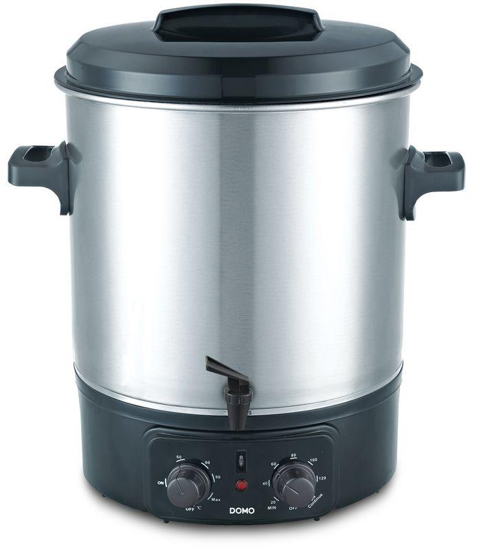 Zavařovací hrnec elektrický, nerez s kohoutem - DOMO DO323W, poloautomat s časovačem a termostatem