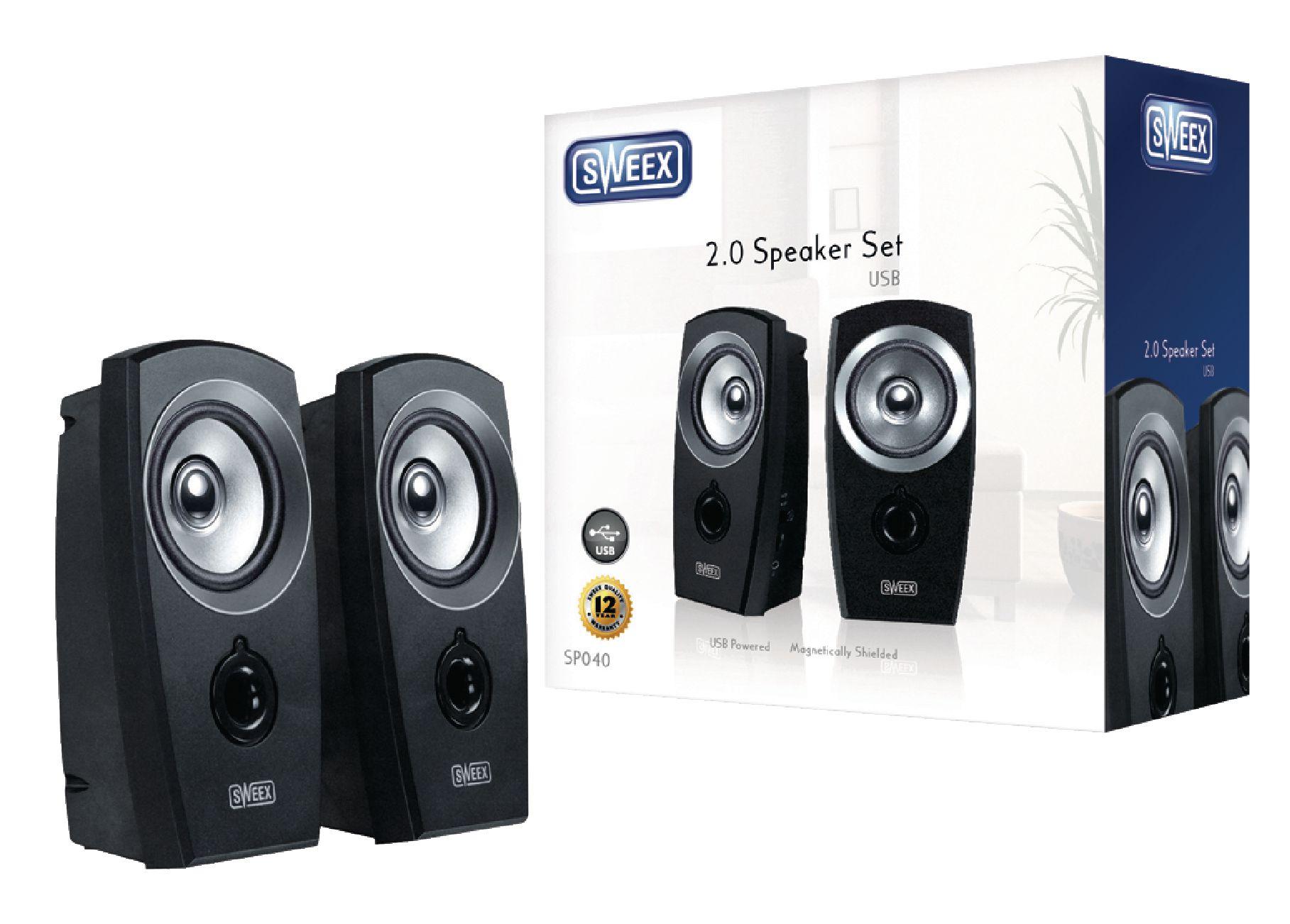 Sweex SP040 stereo reproduktory 2W, USB, jack 3.5mm, černé