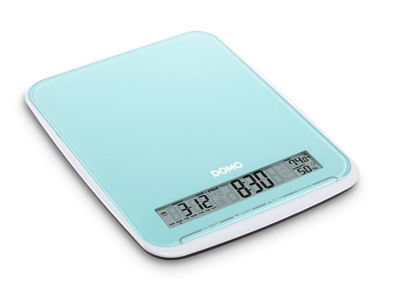 Kuchyňská váha do 10 kg - modrá - DOMO DO9108W, skleněná